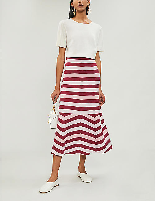 GABRIELA HEARST Posada striped wool and cashmere-blend skirt