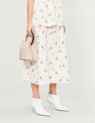 Co FLOWER-PRINT CREPE SKIRT