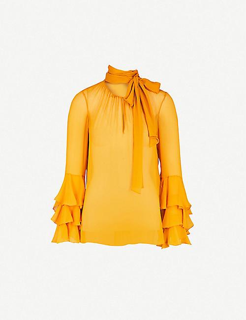 48d5c7c0b596dd PRABAL GURUNG Neck-tie draped silk-chiffon top