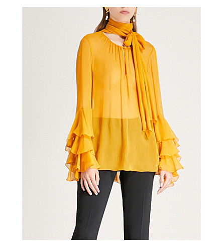 72d2cd6ef34dfc PRABAL GURUNG - Neck-tie draped silk-chiffon top