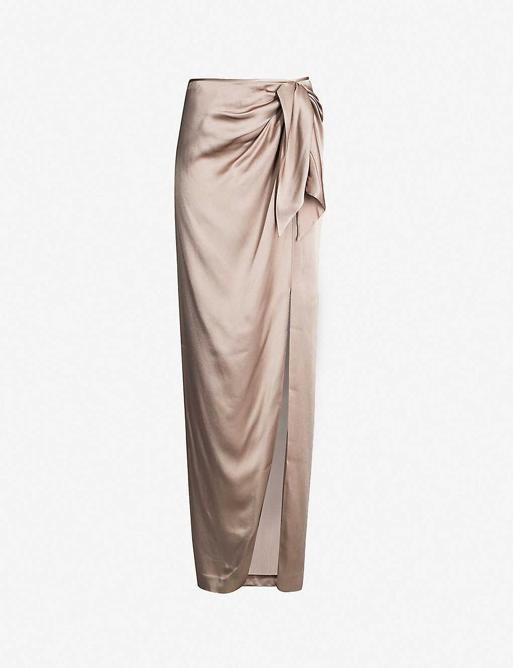 a0e24aae2260 ST JOHN - Ruched satin maxi skirt | Selfridges.com