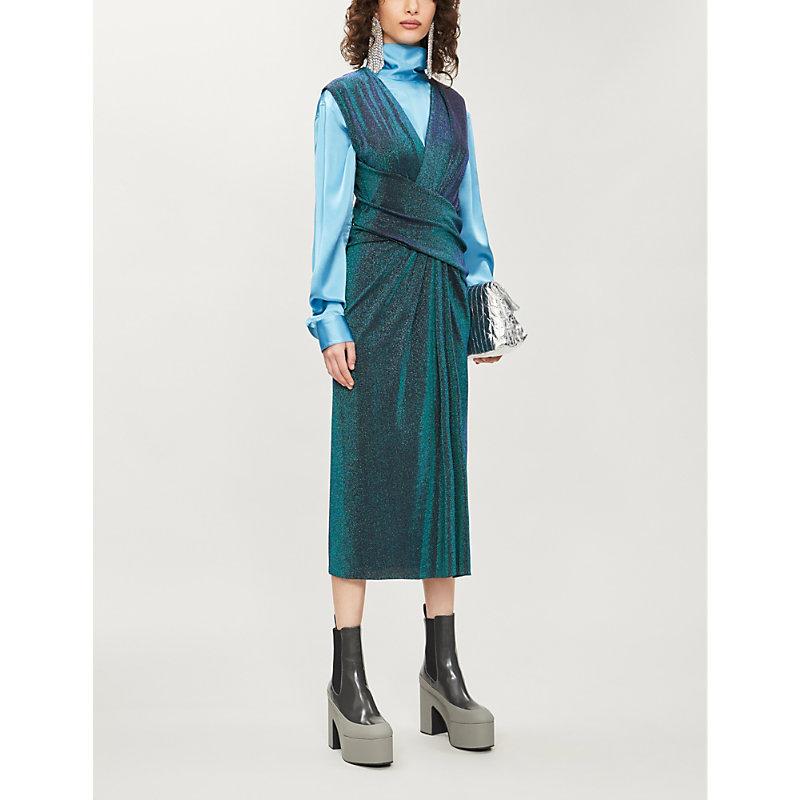 Sies Marjan Dresses METALLIC-PRINT WOVEN MIDI DRESS