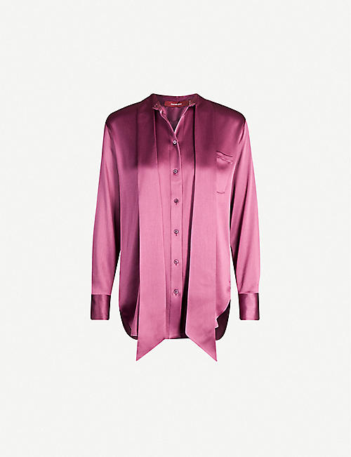 SIES MARJAN Rae loose-fit satin-crepe shirt