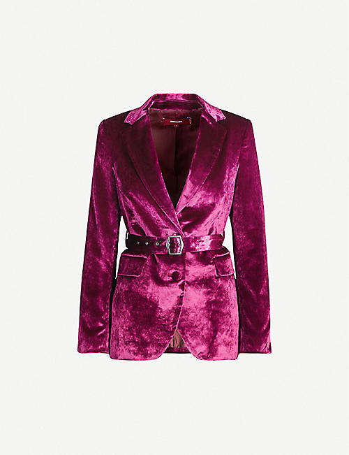 SIES MARJAN Terry single-breasted cotton and velvet blazer