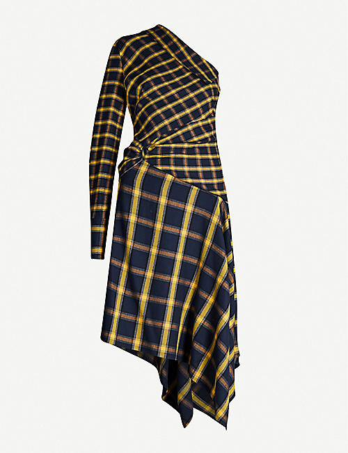 MONSE One-shoulder asymmetric checked cotton-flannel midi dress
