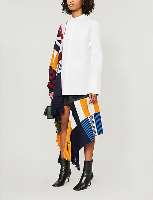 MONSE Geometric-panel wool midi skirt