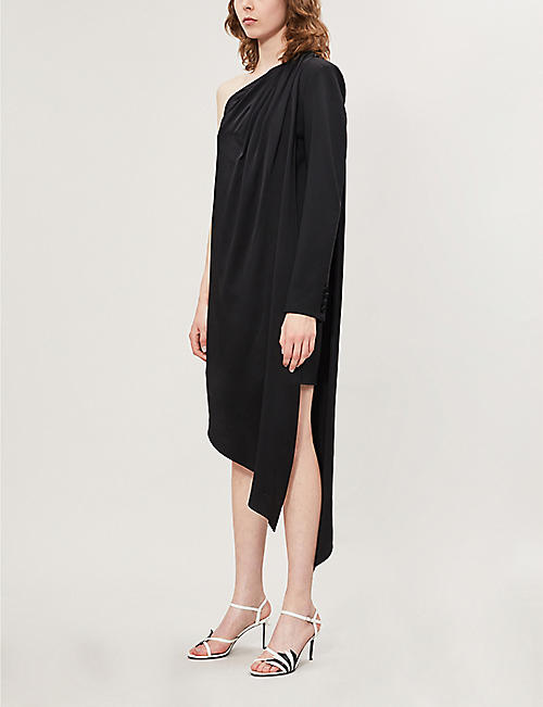 MONSE Asymmetric one shoulder wool-blend dress