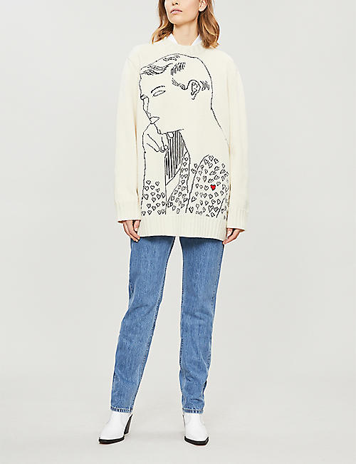 CALVIN KLEIN 205W39NYC Face-intarsia wool jumper