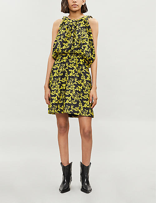 CALVIN KLEIN 205W39NYC Puffed-bodice printed crepe mini dress