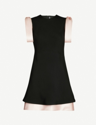 CALVIN KLEIN 205W39NYC Striped silk-satin trimmed crepe mini dress