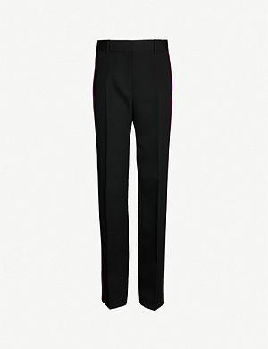 CALVIN KLEIN 205W39NYC Side-stripe mid-rise straight wool trousers