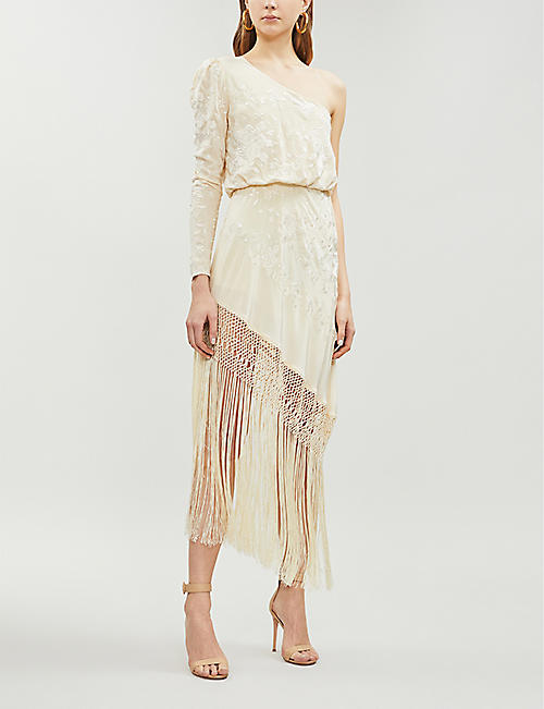 JOHANNA ORTIZ One-shoulder asymmetric fringed embroidered silk-crepe dress