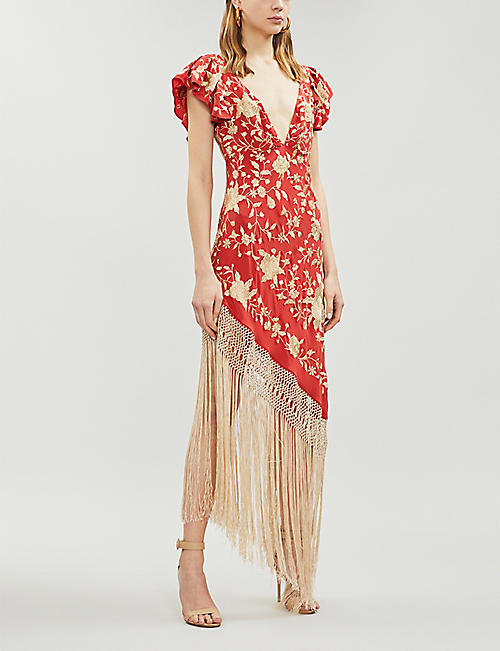 JOHANNA ORTIZ Asymmetric fringed embroidered silk-crepe dress