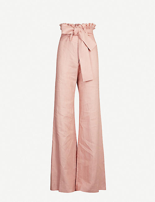 ALEXIS Sweeney wide-leg high-rise linen trousers