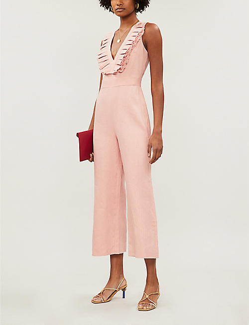 ALEXIS V-neck frill-sleeved linen jumpsuit