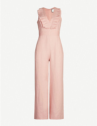 ALEXIS: V-neck frill-sleeved linen jumpsuit