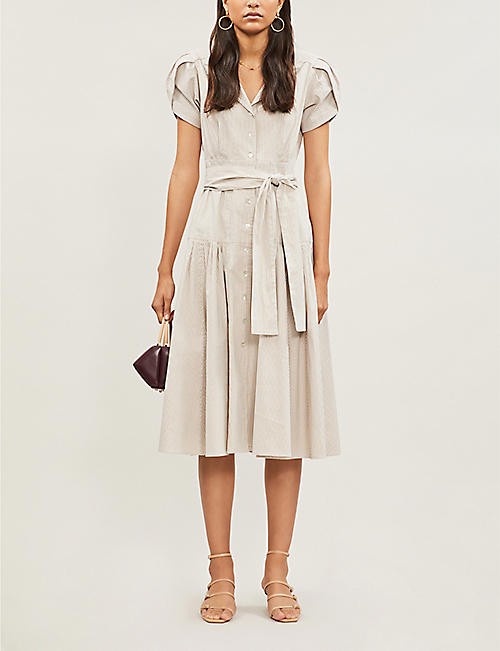 ALEXIS Amma pleated striped stretch cotton-blend midi dress