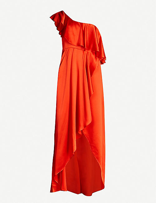 ALEXIS Austyn one-shoulder ruffle-trimmed silk-crepe dress