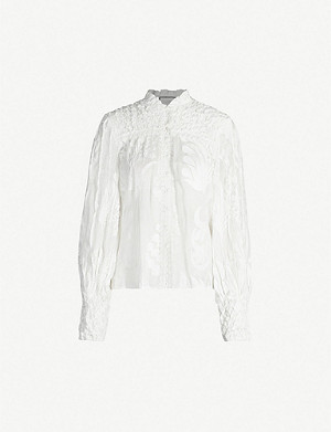 ALEXIS Bismarck high-neck linen and silk-blend shirt