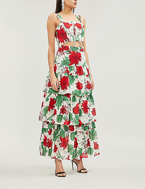 ALEXIS Delora tiered high-waist floral-print cotton-voile maxi skirt