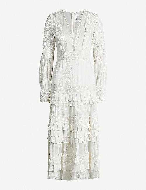 ALEXIS Gallinda floral-embroidered linen and silk-blend midi dress