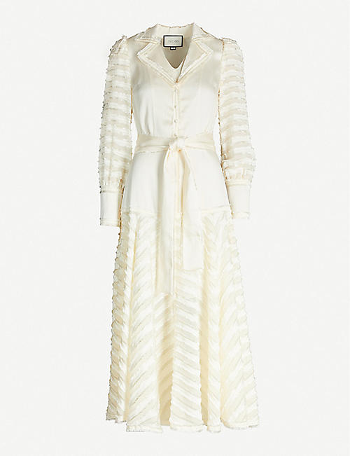 ALEXIS Juliska fringed satin-crepe midi dress