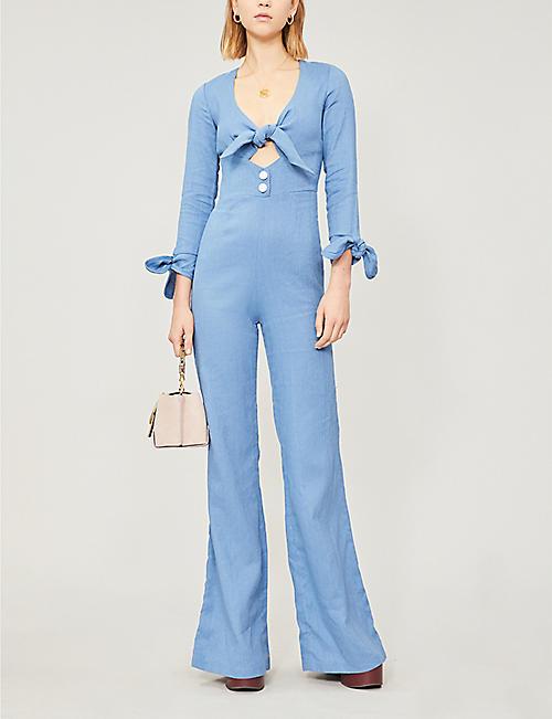 319cb156dfb7 ALEXIS Tie-front flared linen and cotton-blend jumpsuit · Quick Shop