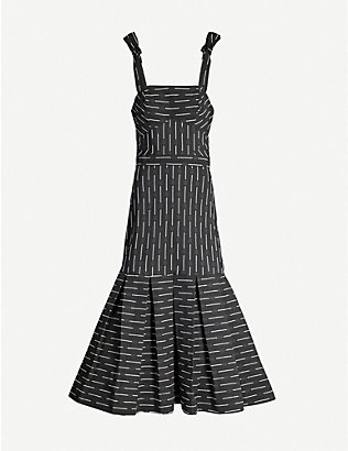 ALEXIS: Leticia striped flared-hem woven midi dress