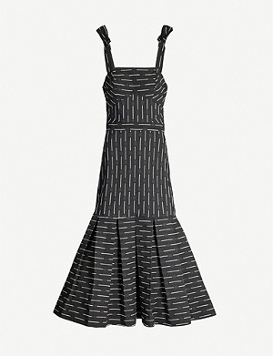 ALEXIS Leticia striped flared-hem woven midi dress