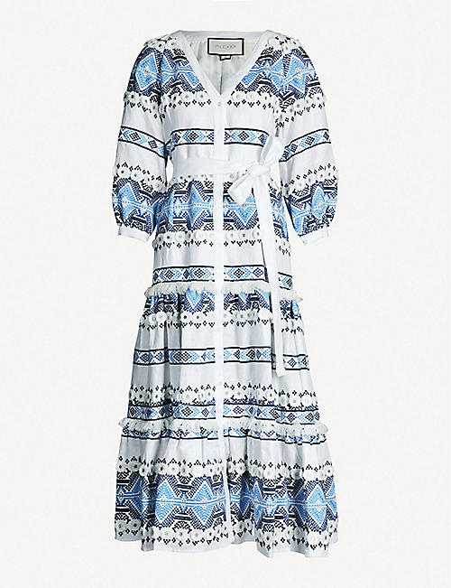 ALEXIS Wylla embroidered linen and cotton-blend dress