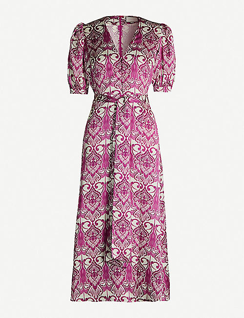 ALEXIS Wynova floral-print satin midi dress