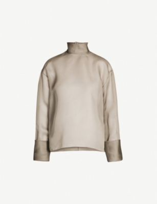 THE ROW Kaylee silk-organza turtleneck top
