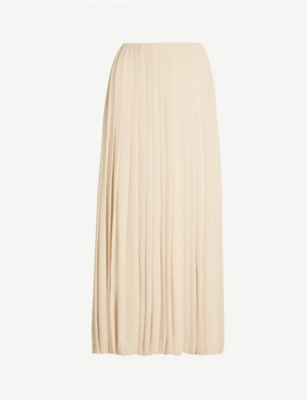 THE ROW Sulu high-waist grosgrain-trim pleated crepe maxi skirt