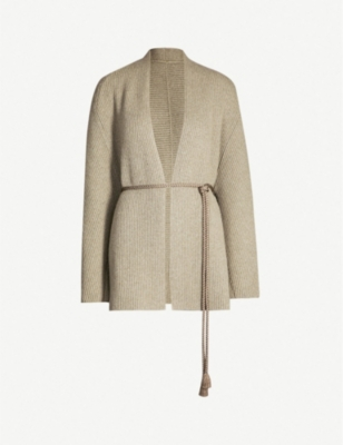 THE ROW Ardi belted ribbed wool and cashmere-blend cardigan