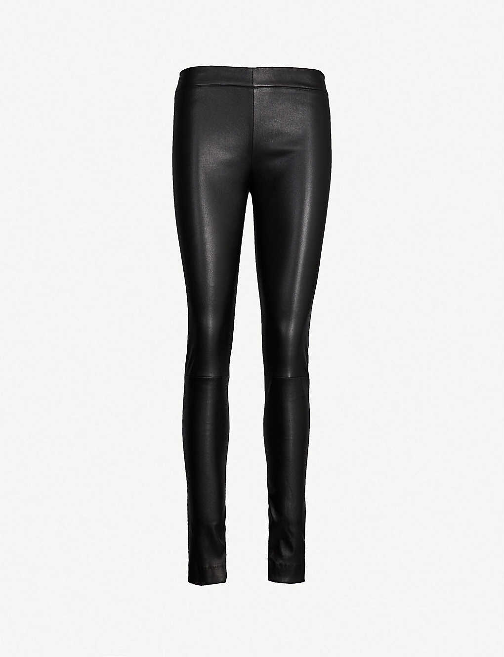 THE ROW: Moto high-rise leather skinny trousers
