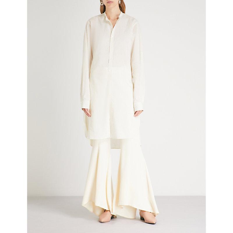 ARJE 泽维尔 带 Longline 织 衬衫 in Ivory Midnight
