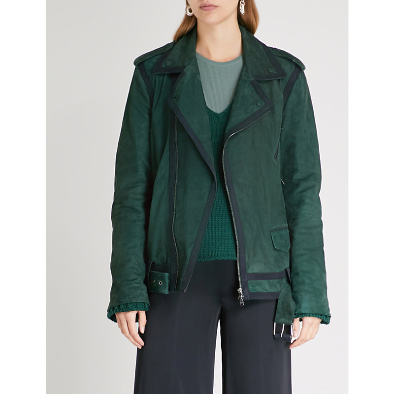 ARJE Zayn Panelled Suede Jacket in Emerald