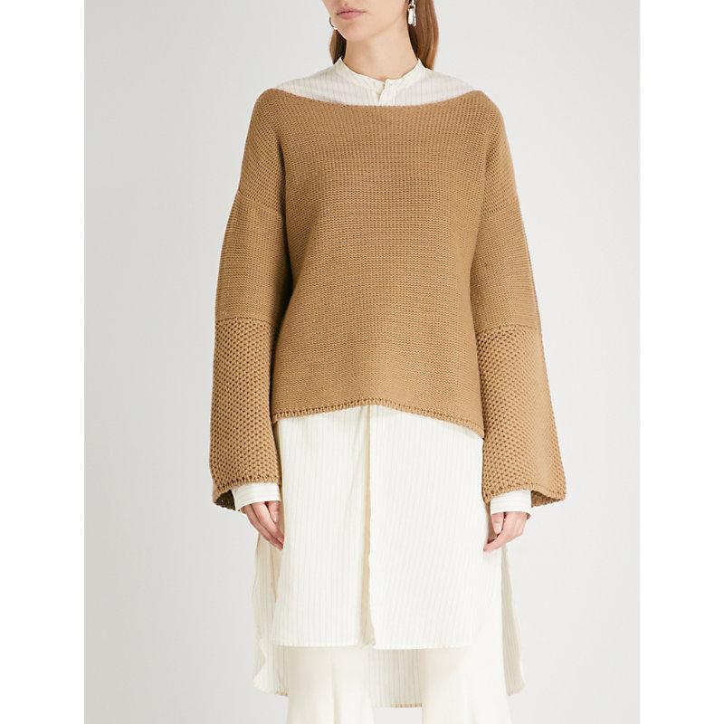 ARJE Formentera Wool And Linen-Blend Jumper in Tan