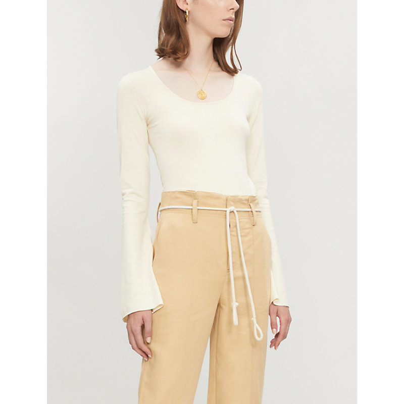 ARJE Flared-Sleeve Knitted Top in Ivory