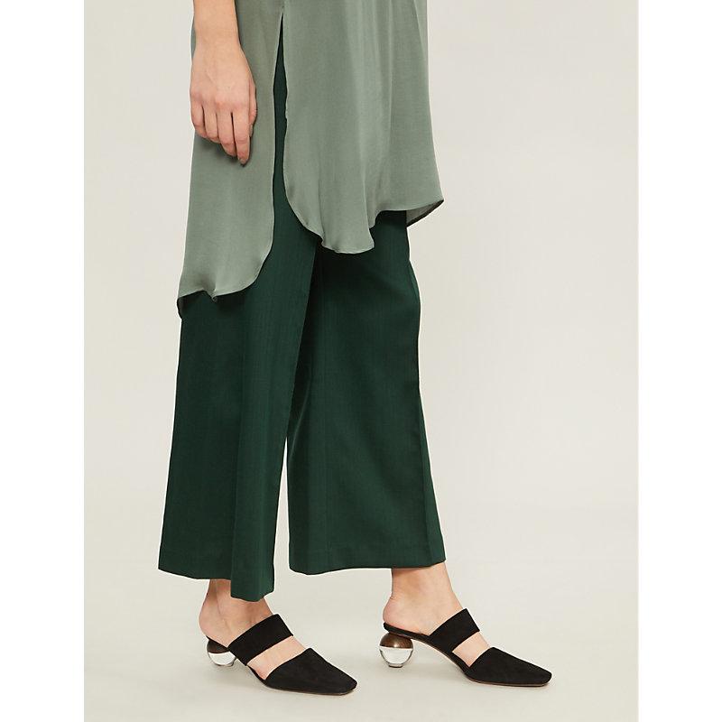 ARJE Fred Mid-Rise Wide-Leg Wool Trousers in Emerald