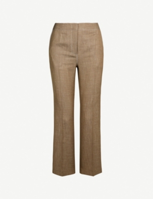 CASASOLA Straight-leg wool, silk and linen-blend trousers