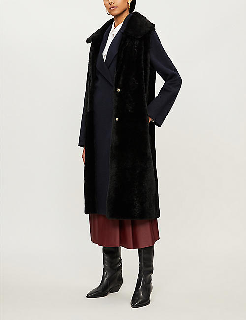 YVES SALOMON Lacon relaxed-fit leather and wool-blend coat