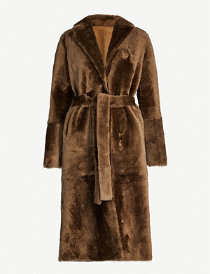 YVES SALOMON Waist-tie shearling coat
