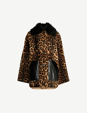 YVES SALOMON Lacon leather-panelled leopard-print shearling coat