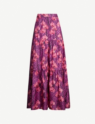 BORGO DE NOR Pia graphic-pattern twill maxi skirt