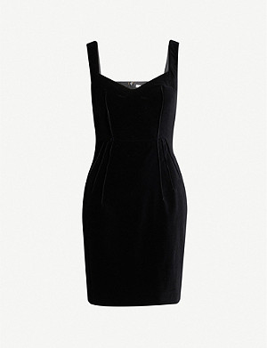 EMILIA WICKSTEAD Judith sweetheart-neckline velvet mini dress