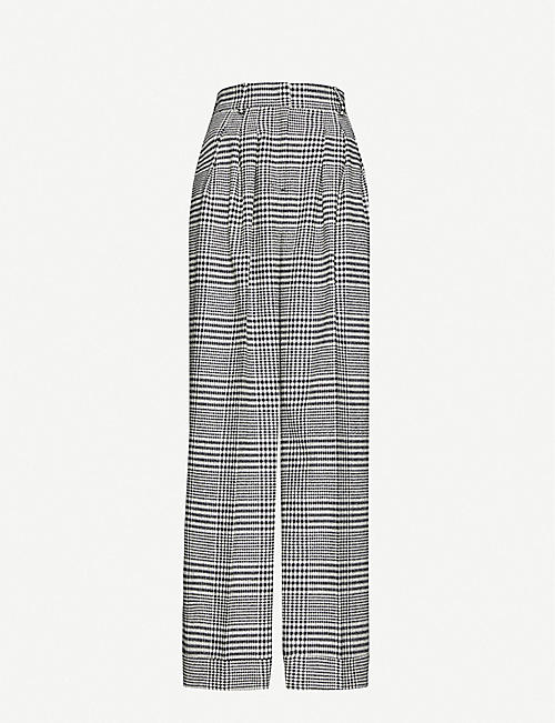 EMILIA WICKSTEAD Francis checked wide-leg wool-blend trousers