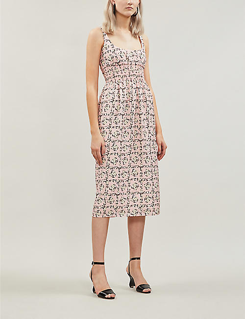 EMILIA WICKSTEAD Giovanna rose-print sleeveless crepe midi dress