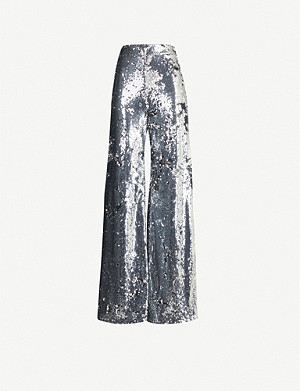 ELLERY Sequinned high-rise wide-leg sequinned trousers