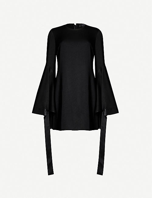 ELLERY Nemesis fluted tied-cuff crepe mini dress